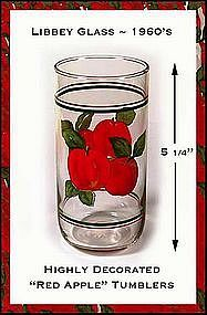 "Libbey Glass ""Red Apple"" Premium Decorated Tumblers"