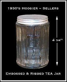 Hoosier ~ Sellers ~ Ribbed / Embossed TEA Canister Jar