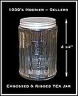 Hoosier ~ Sellers ~ Ribbed / Embossed TEA Canister Jar