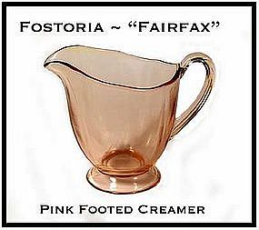 Fostoria Fairfax Pink Footed Creamer