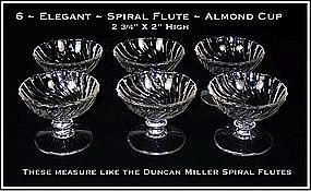 "Duncan Miller ""Spiral Flutes"" Six Footed Almond Dishes"
