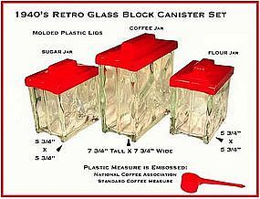 Wonderful 1940s Retro Glass Block Kitchen Canister Set