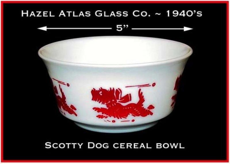 Hazel Atlas Childs Red Scotty Dog Cereal Bowl