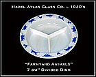 Hazel Atlas Childs Blue Barnyard 3 Way Divided Dish