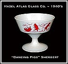 Hazel Atlas Childs Red Dancing Pigs Sherbert Dish