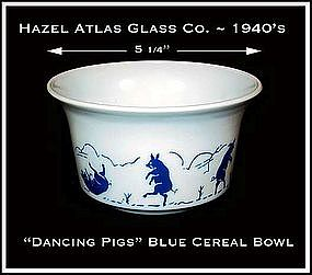 Hazel Atlas Childs Blue Dancing Pigs Cereal Bowl