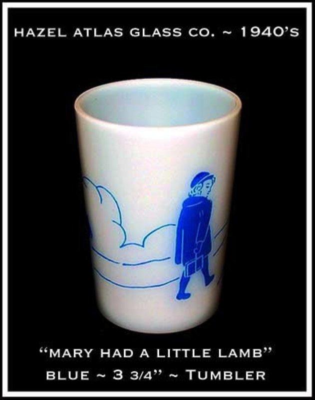 Hazel Atlas Childs Blue~Mary Had A Little Lamb~Tumbler