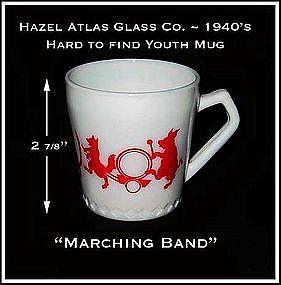 "Hazel Atlas ~ Rare Size ~ Childs ""Marching Band"" Mug"