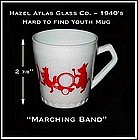"Hazel Atlas ~ Rare Size ~ Childs ""Marching Band"" Mug"