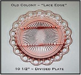"Old Colony Lace Edge 10 1/2"" Divided Relish Plate"