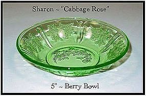 "Green Sharon Cabbage Rose 5"" Berry Bowl-Federal"