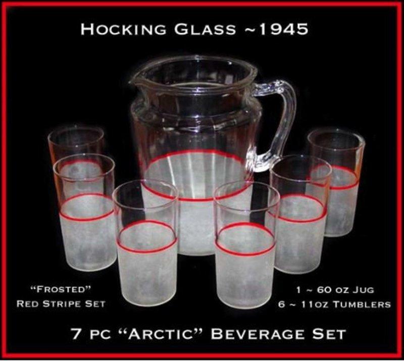 Hocking ~ 1932 ~ Arctic 7pc Red Stripe Beverage Set
