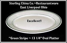 "Restaurantware~Green Stripe~Unusual 13"" Platter"