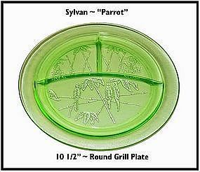"Federal Glass ~ Green Parrot 10 1/2"" Round Grill Plate"