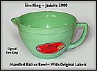 Fire King 2000 Jadeite Handled Batter Bowl~Org Labels