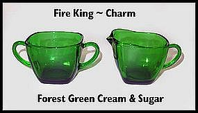 Hocking Fire King ~ Forest Green Charm Cream & Sugar