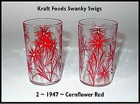 Kraft Foods Swanky Swigs ~ 2 ~ 1947 Cornflower Red