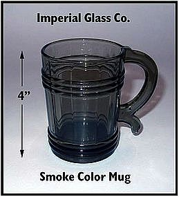 Imperial Glass ~ Smoke Colored 12 oz Handled Mug