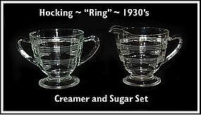 "Hocking Crystal ""Ring"" Footed Creamer & Sugar Bowl"