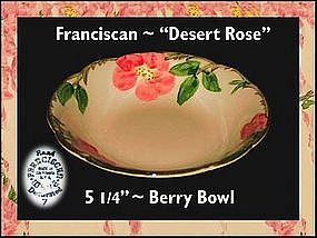"Franciscan Desert Rose~5 1/4"" Berry Bowl"