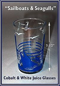 "Swanky Swig ~ Sailboat & Seagulls""~ 5 oz Juice Glasses"