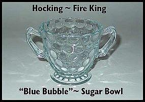 Fire King Hocking Blue Bubble Sugar Bowl
