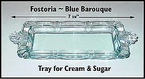 Fostoria Blue Baroque ~ Tray For Cream & Sugar