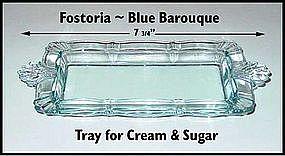 Fostoria Blue Baroque ~ Tray For Cream & Sugar