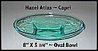 Hazel Atlas ~ Blue Capri ~ Oval Bowl