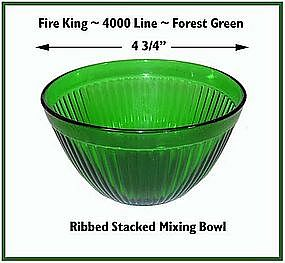 "Fire King~Forest Green~Rare Ribbed 4 3/4"" Stacking Bowl"