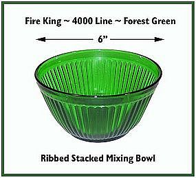 "Fire King~Forest Green~Rare Ribbed 6"" Stacking Bowl"