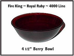 Fire King~Royal Ruby~4000 Line Berry Bowl