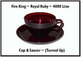Fire King~Royal Ruby~4000 Line Cup & Saucer