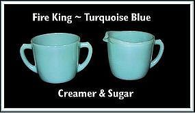 Fire King ~ Turquoise Blue ~ Creamer & Sugar Set