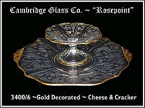 "Cambridge ~ ""Rosepoint"" ~ Gold Dec ~ Cheese & Cracker"