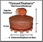 1930's~Carousel Elephants~Pink Satin Glass Powder Jar