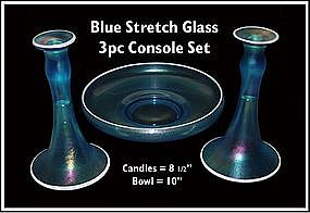 Tiffin/U.S. Glass Blue Stretch Glass 3 pc Console Set