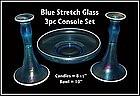 Tiffin/U.S. Glass Blue Stretch Glass 3 pc Console Set