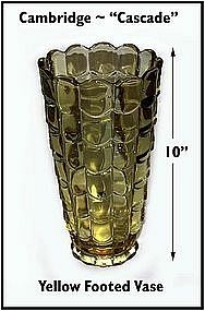 Cambridge Glass ~ Cascade ~ Large Yellow Vase~WOW!