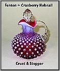 Fenton ~ Cranberry Hobnail ~ Cruet/Stopper ~ Excellent!