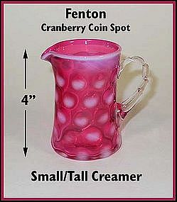Fenton ~ Cranberry Coin Dot ~ Tall Creamer ~ Jug