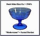 Hazel Atlas Moderntone Cobalt Footed Sherbert