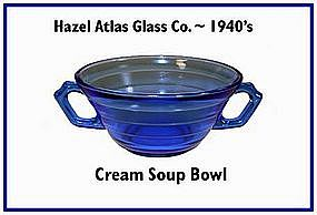 Hazel Atlas Moderntone Cobalt Cream Soup Bowl