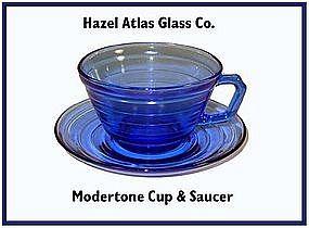 Hazel Atlas Moderntone Cobalt Cup and Saucer