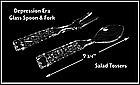 Waffle ~ Crystal Glass Spoon and Fork Salad Toss Set
