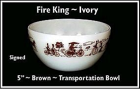 Hocking ~ Fire King ~ Brown Transportation Bowl~Signed