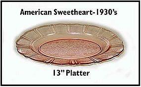 Macbeth~Evans~American Sweetheart~Pink Oval Platter