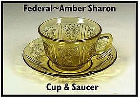 Federal ~ Amber Sharon ~ Cabbage Rose ~ Cup & Saucer