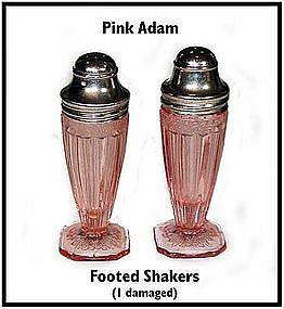 Jeannette Glass ~ Pink Adam ~ Footed SALT & PEPPER