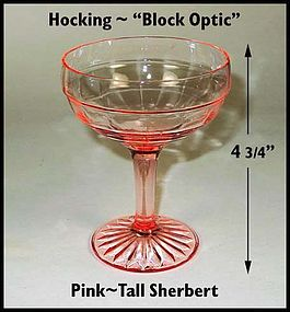 Hocking~Block Optic~Pink Tall 6oz Champagne/Sherbert